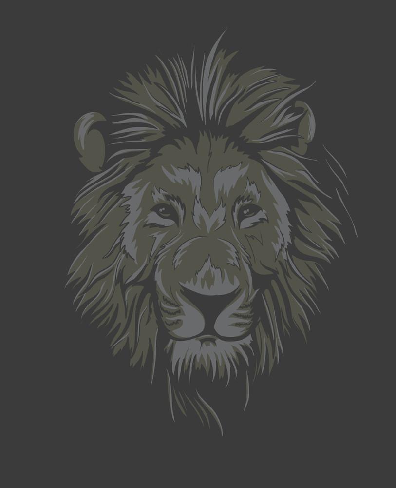 Vintage T-shirt Design With Lion Face
