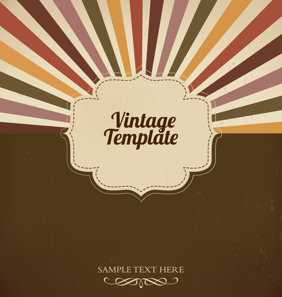 Vintage Template With Retro Sun Burst Background