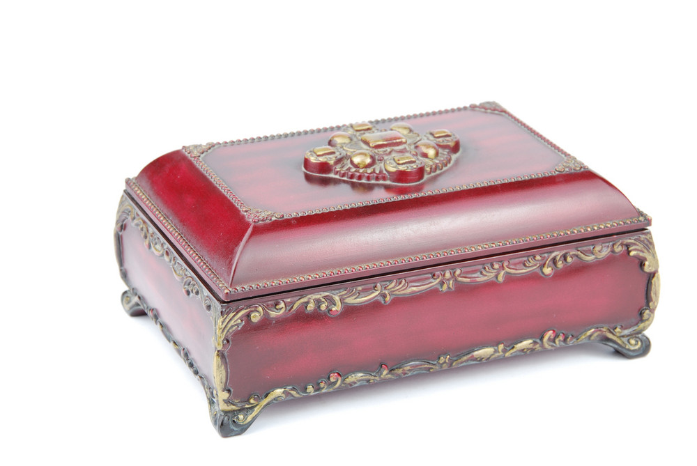 Vintage Treasure Chest Closed On White