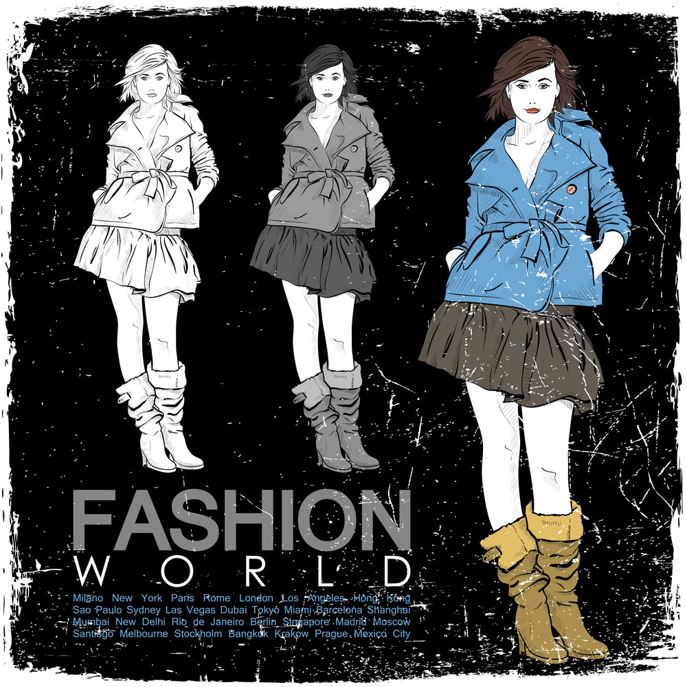 Vintage Vector Illustration Of Lovely Fashion Girl In Sketch-styleon A Black Background.