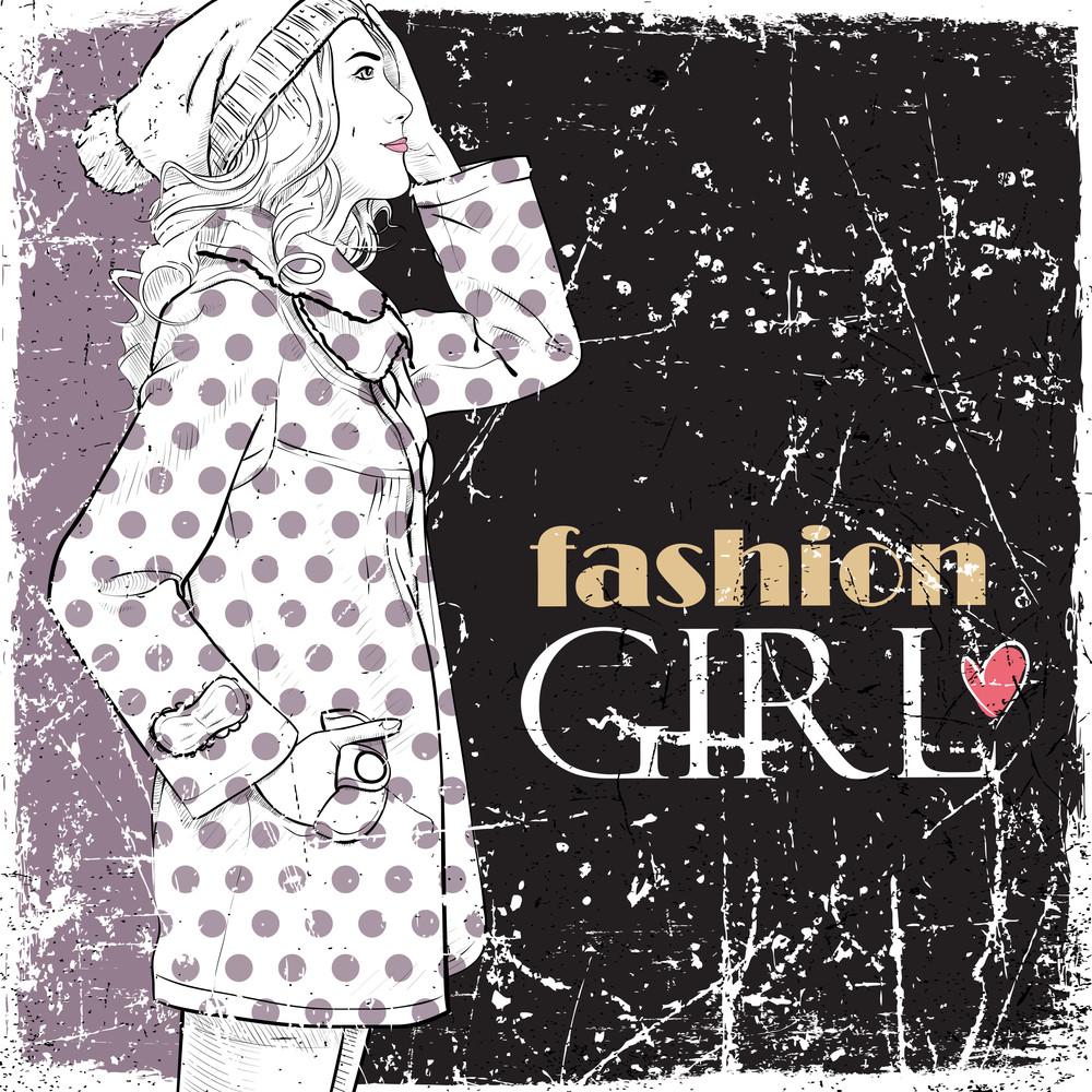 Vintage Vector Illustration Of Lovely Fashion Girl.