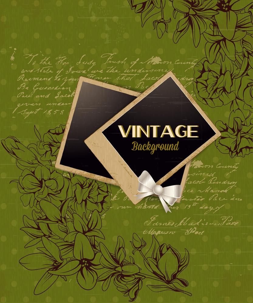 Vintage Vector Illustration With Floral Elements, Photo Frame, Ribbon,