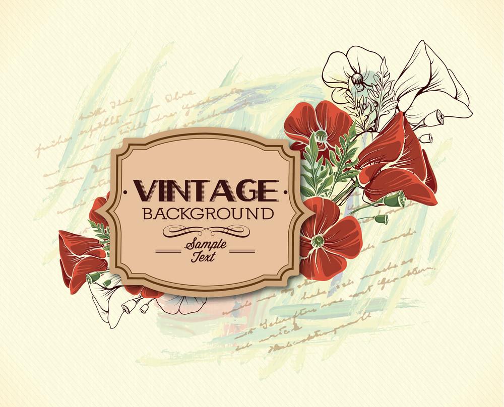 Vintage Vector Illustration With Frame, Spring Flowers