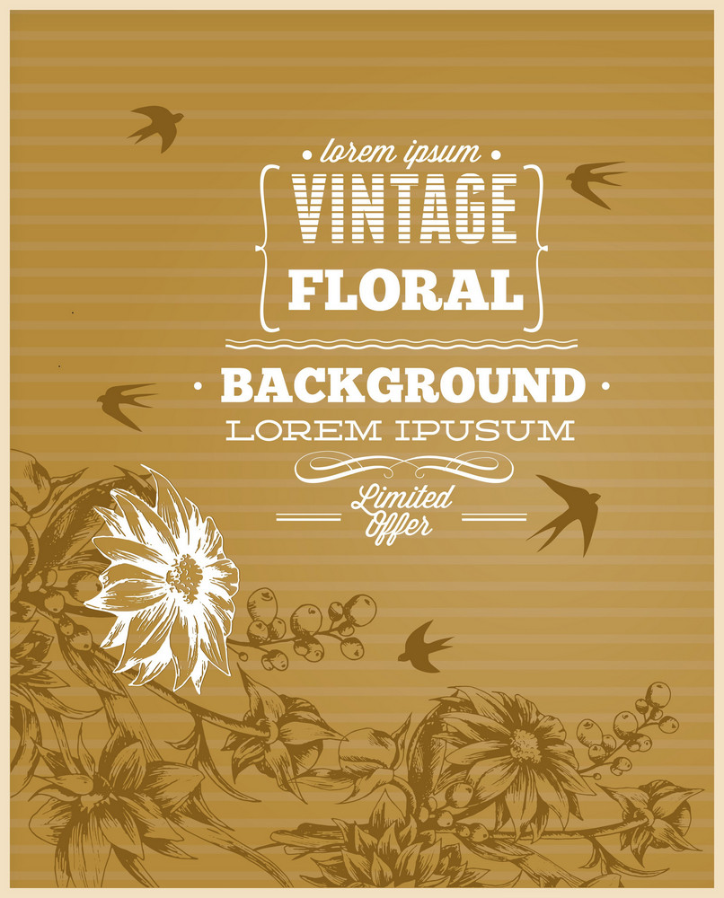 Vintage Vector Illustration With Spring Flower And Bird