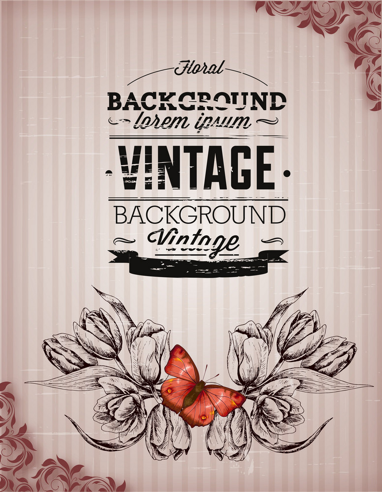 Vintage Vector Illustration With Spring Flower And Butterfly