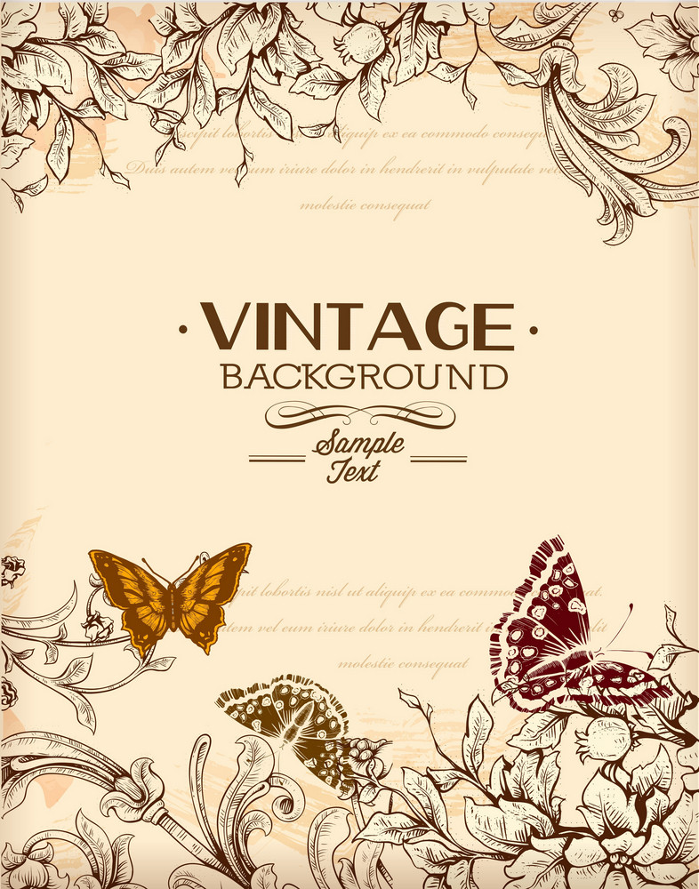 Vintage Vector Illustration With Spring Flowers And Butterfly
