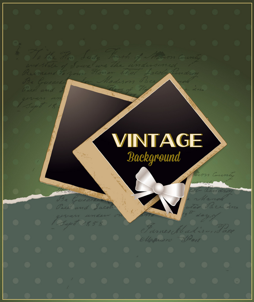 Vintage Vector Illustration With Torn Paper And Photo Frame, And Ribbon