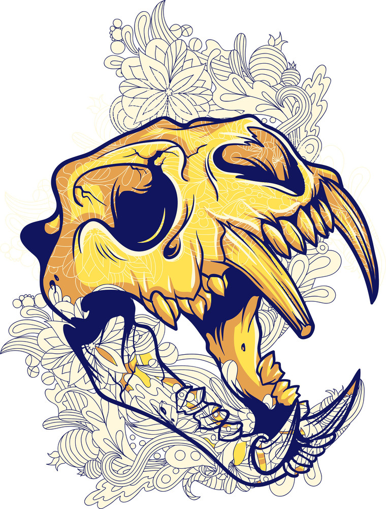 Vintage Vector T-shirt Design With Animal Skull