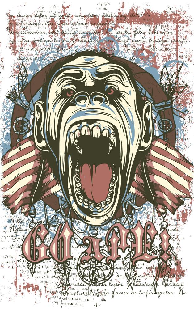 Vintage Vector T-shirt Design With Ape