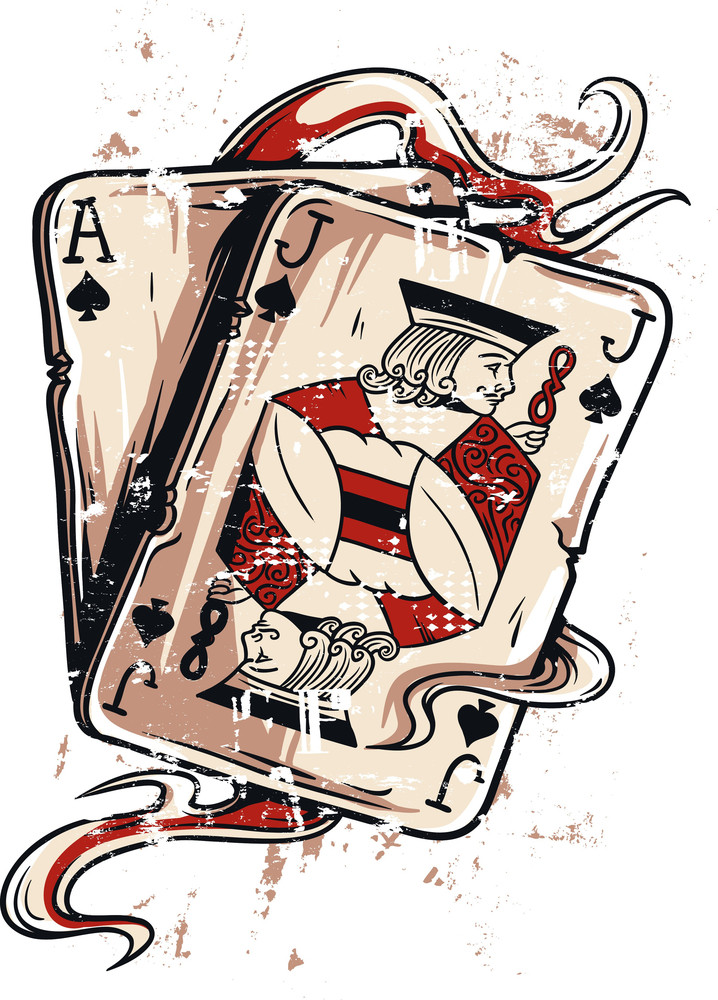 Vintage Vector T-shirt Design With Casino Game Cards