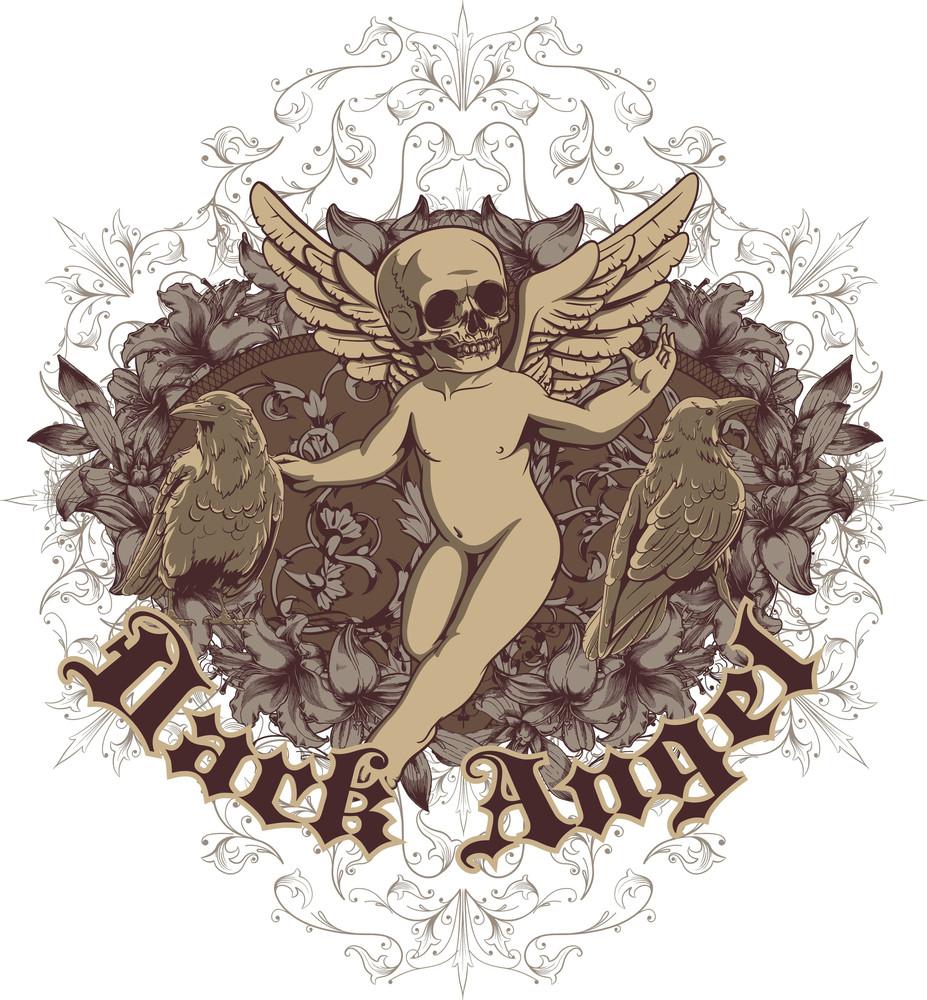Vintage Vector T-shirt Design With Dead Angel