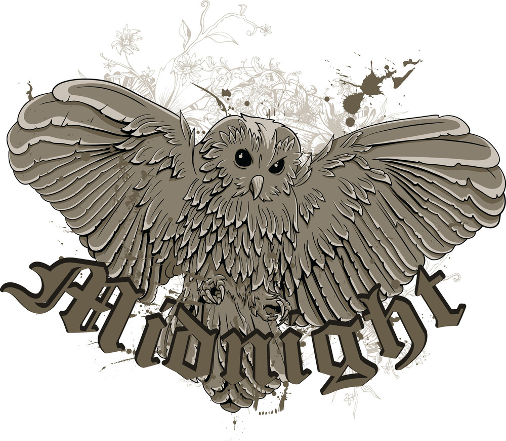 Vintage Vector T-shirt Design With Owl