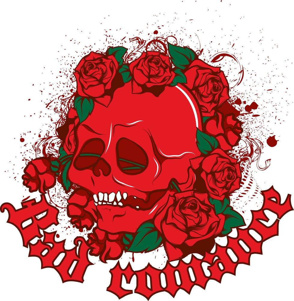 Vintage Vector T-shirt Design With Skull