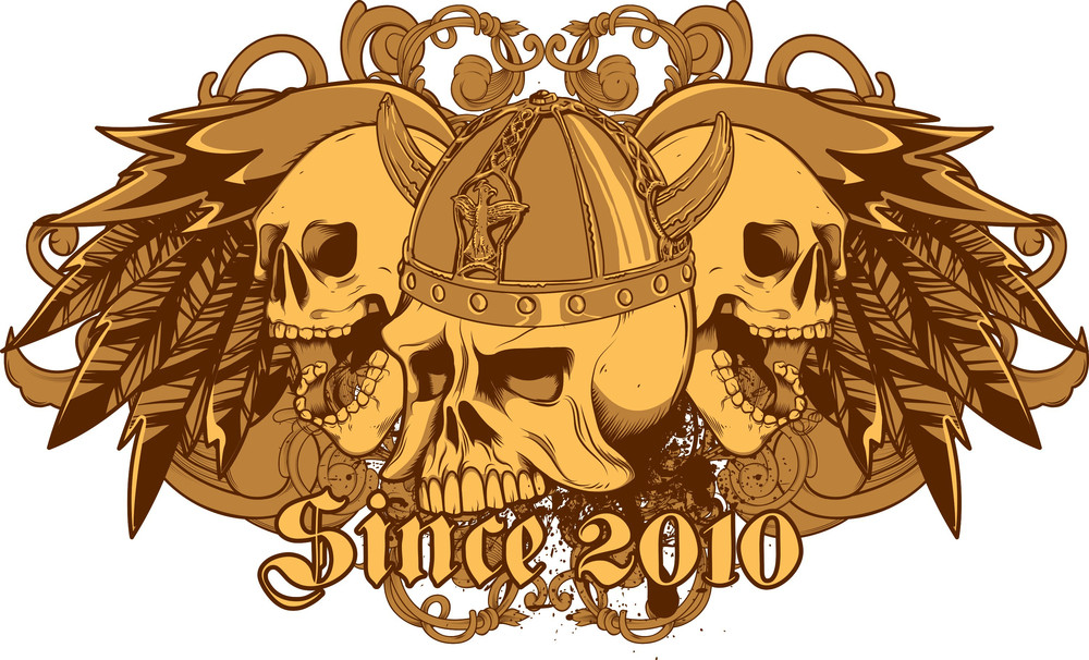 Vintage Vector T-shirt Design With Skulls