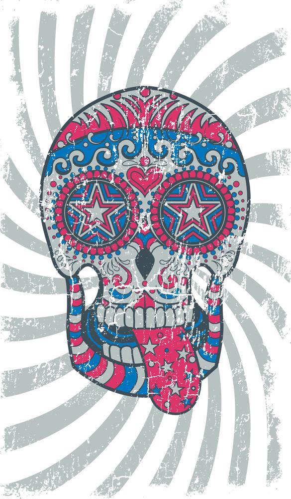 Vintage Vector T-shirt Design With Sugar Skull
