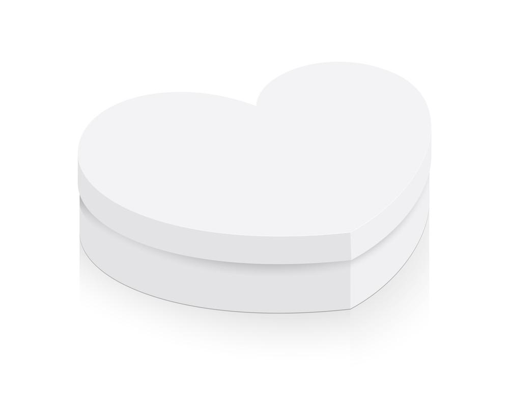 Vintage White Heart Box Vector