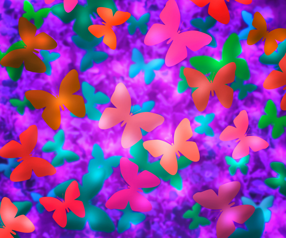 Violet Butterflies Abstract Background