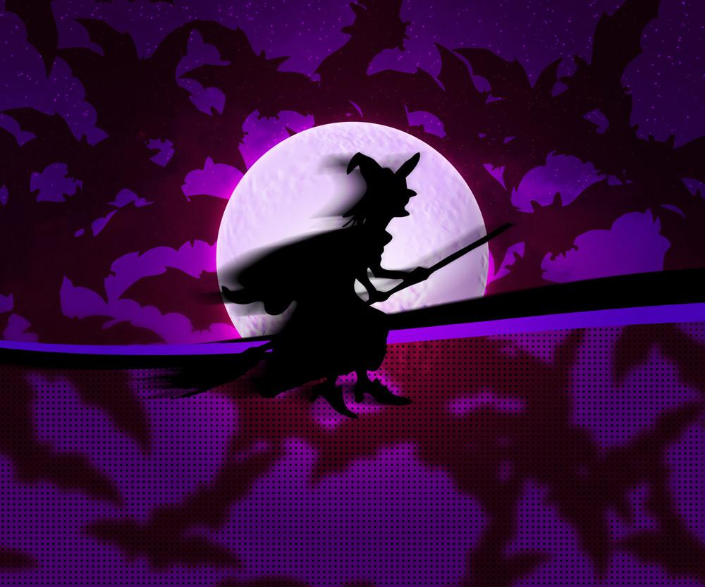 Violet Witch Halloween Background