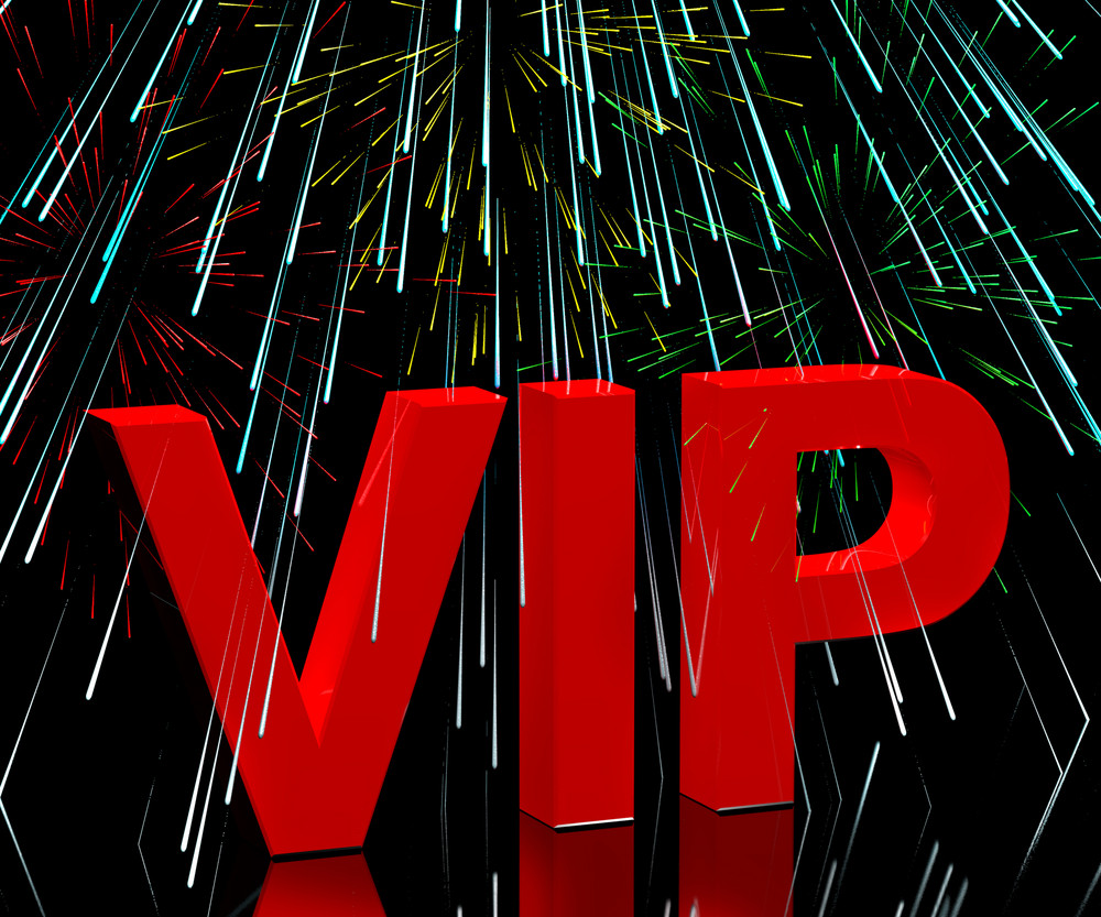 Vip Word With Fireworks Showing Celebrity Or Millionaire Party