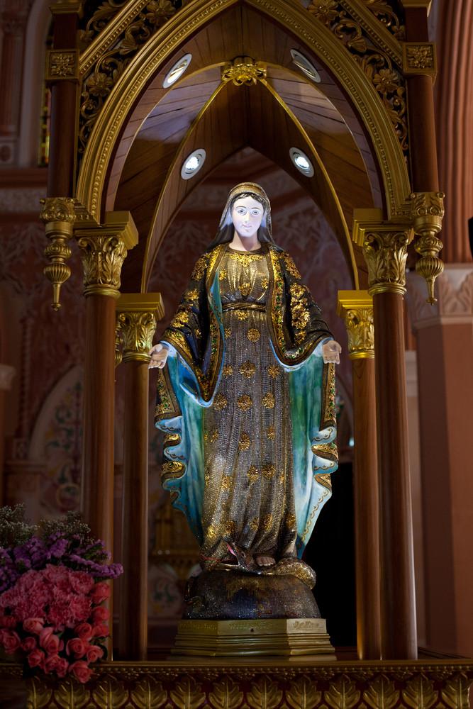 Virgin Mary Statue in Roman Catholic Church at Chanthaburi Province, Thailand