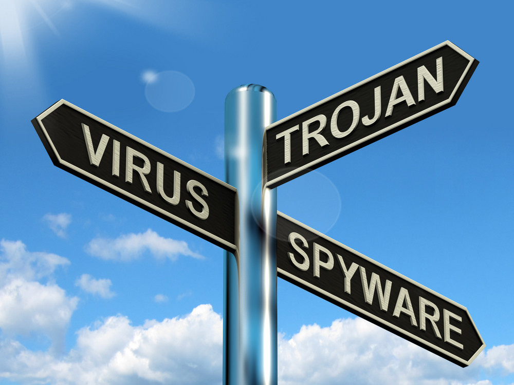 Virus Trojan Spyware Signpost Showing Internet Or Computer Threats