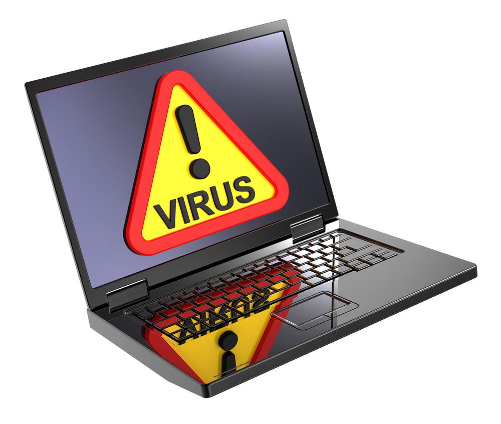Virus Warning Sign On Laptop Screen.