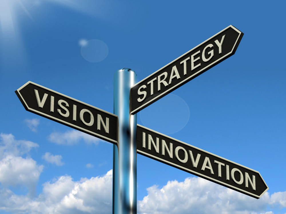 Vision Strategy Innovation Signpost Showing Business Leadership And Ideas