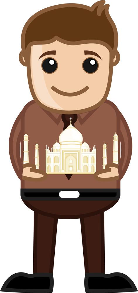 Visit Taj Mahal India - Travel Cartoon Concept