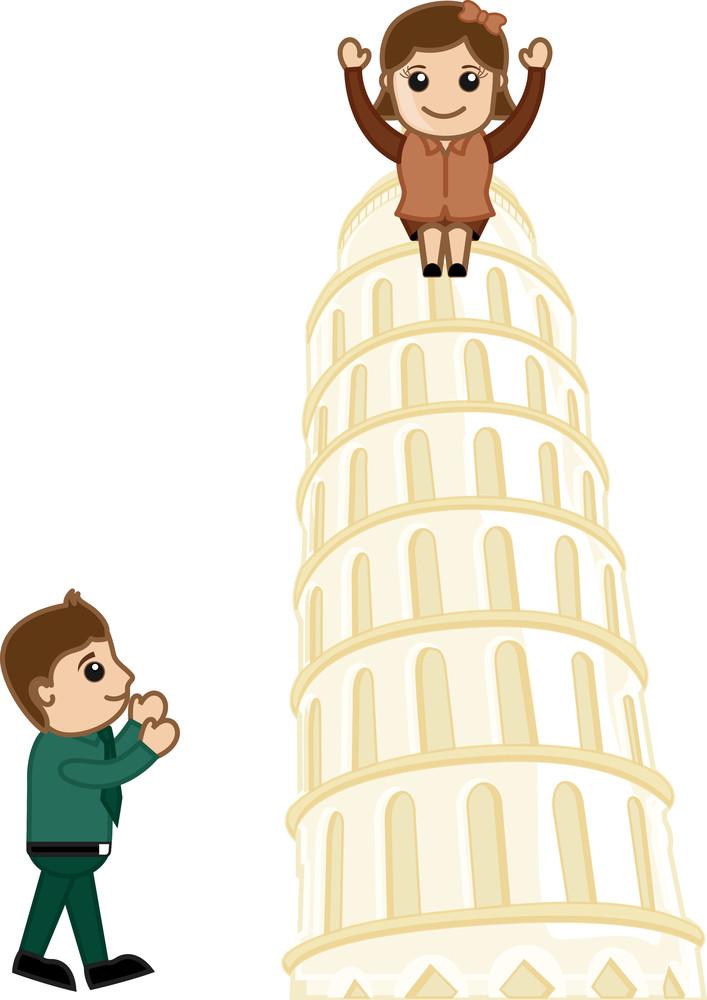 Visit Tower Of Pisa - Vector Cartoon