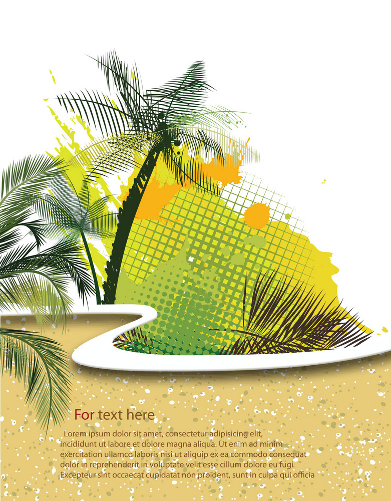 Voector Summer Background With Palm Trees
