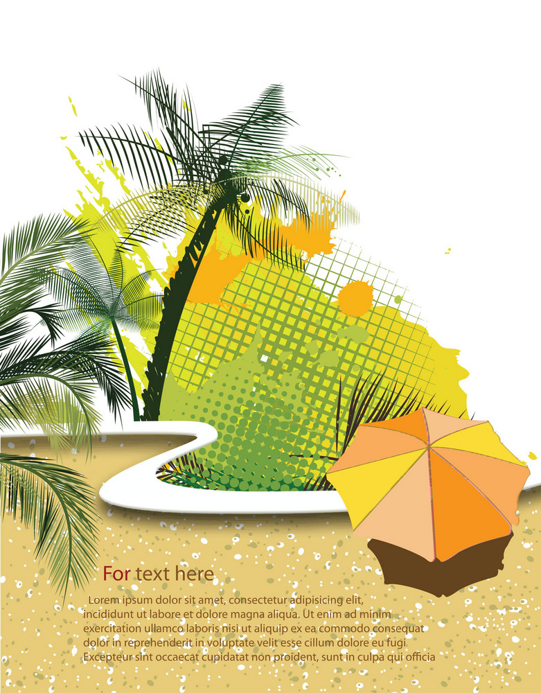 Voector Summer Background With Umbrella
