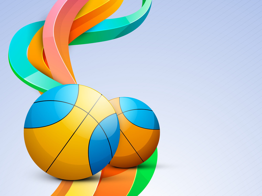 Volleyball Isolated On Colorful Wave Background