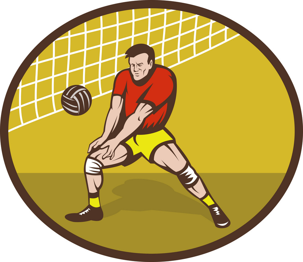 Volleyball Player About To Strike Ball