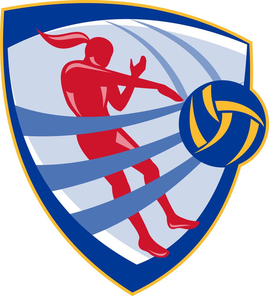 Volleyball Player Spiking Ball Crest