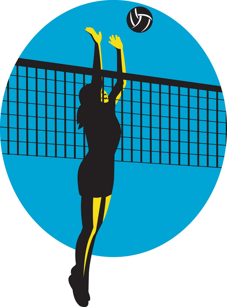 Volleyball Player Spiking Ball Retro