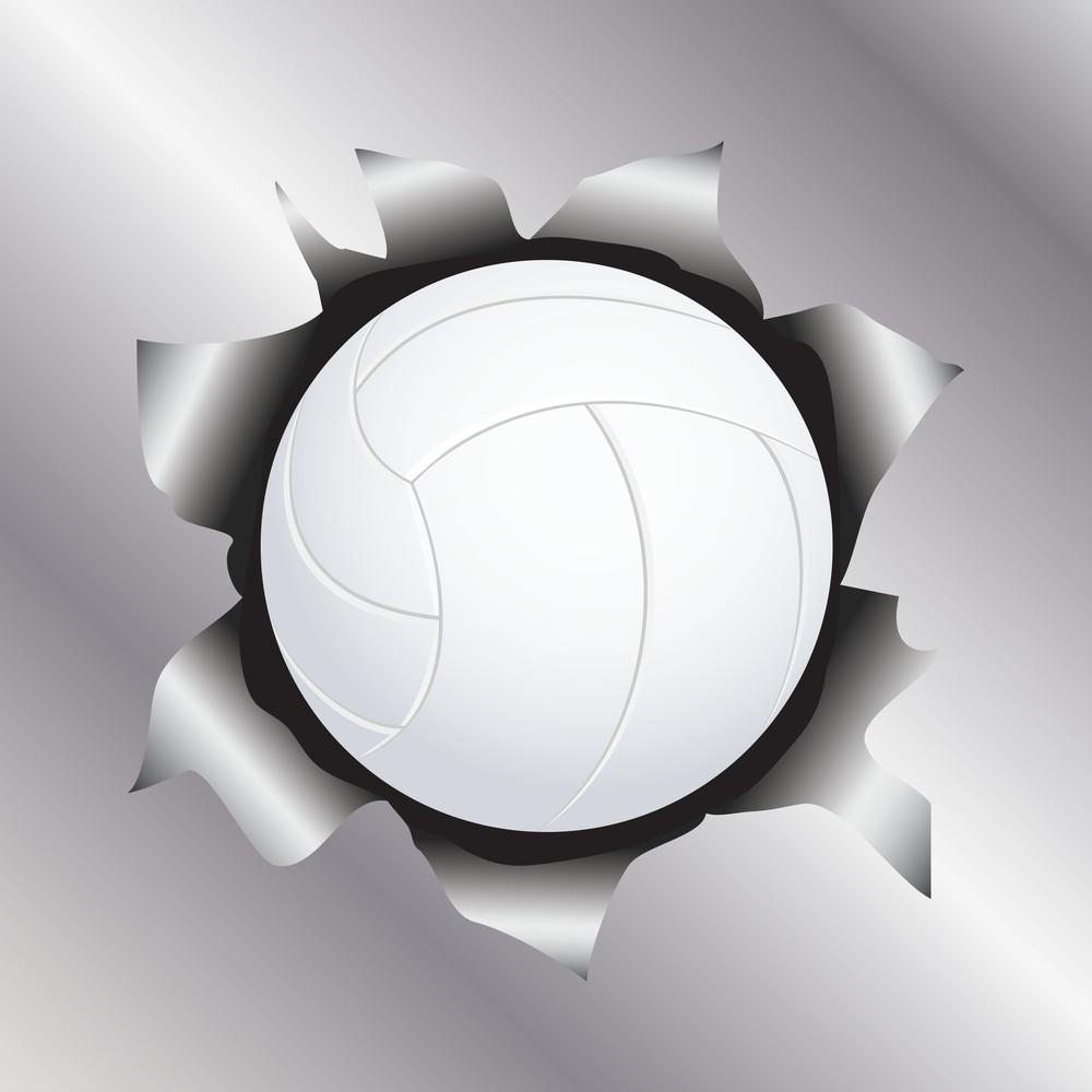 Volleyball Thru Metal Sheet