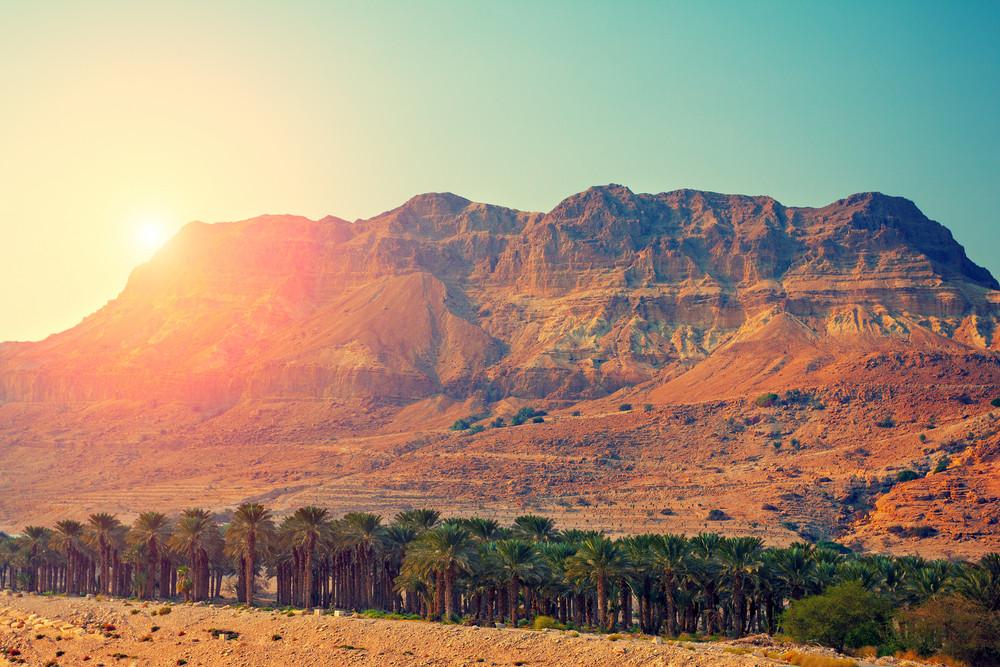 Judean desert in Israel at sunset