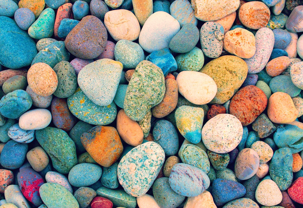 Vintage colorful pebble background