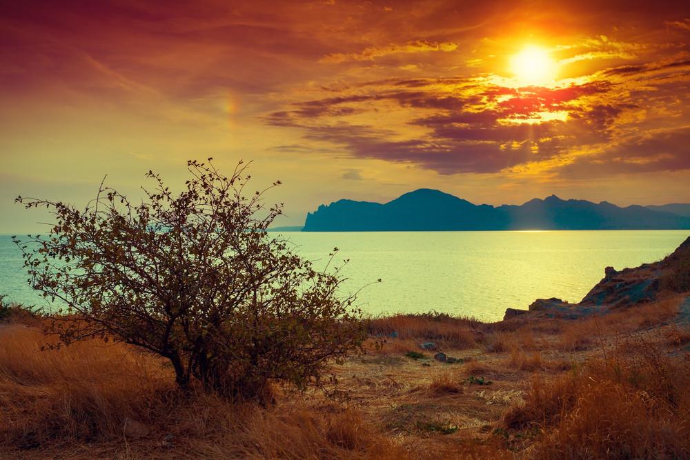 Sunset over rocky sea coast