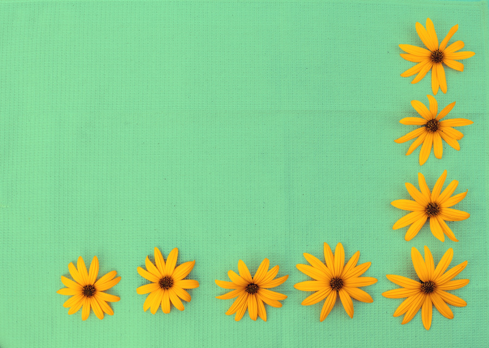 Background from gunny cloth and flowers
