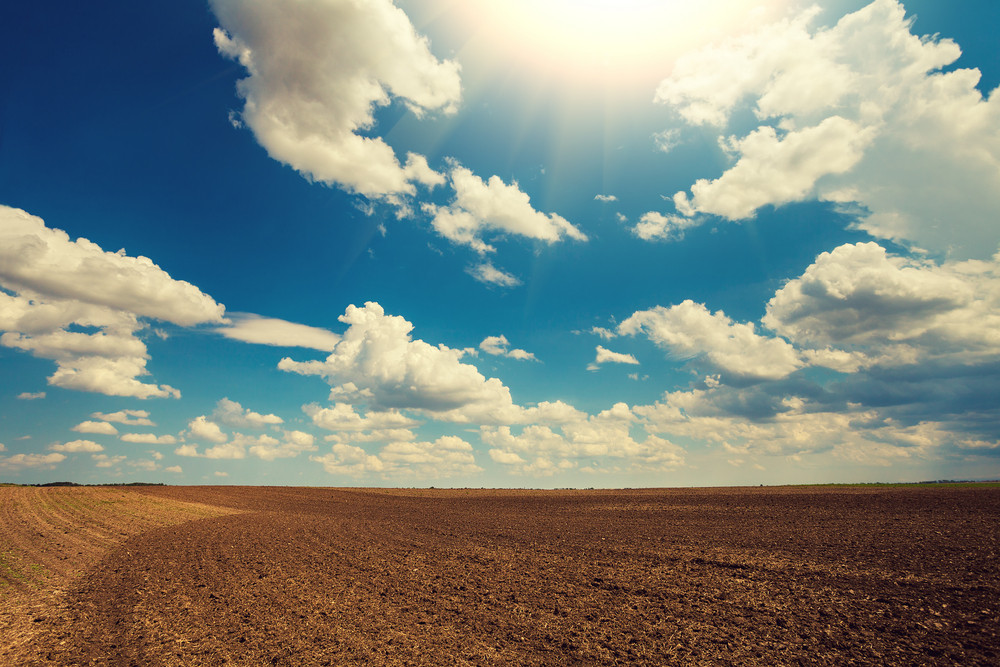Arable field with cloudy sky and sun