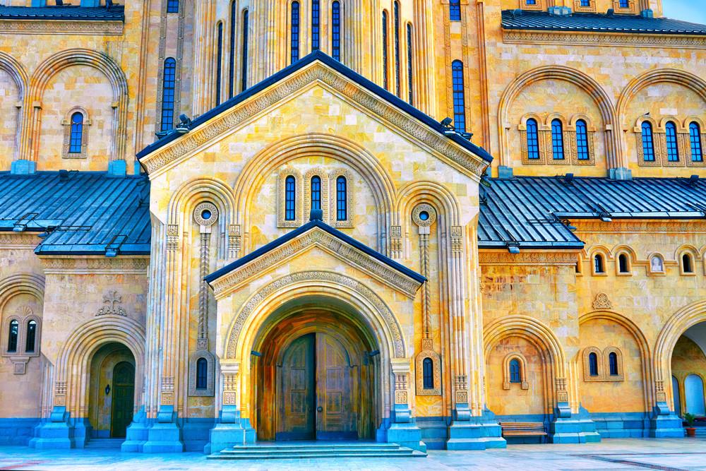 The Holy Trinity Cathedral Tsminda Sameba in Tbilisi at sunset