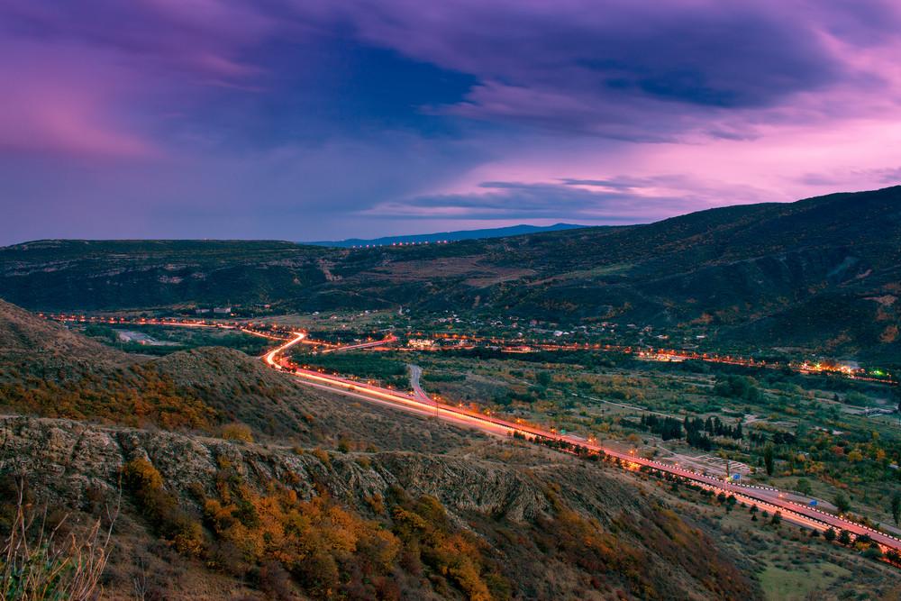 Night panoramic view of Mtskheta city from Jvari monastery. Georgia country
