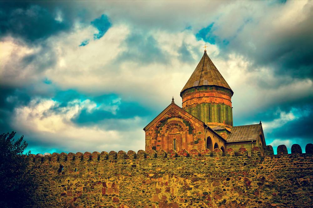 Ancient fortress Svetitskhoveli Cathedral in Mtskheta