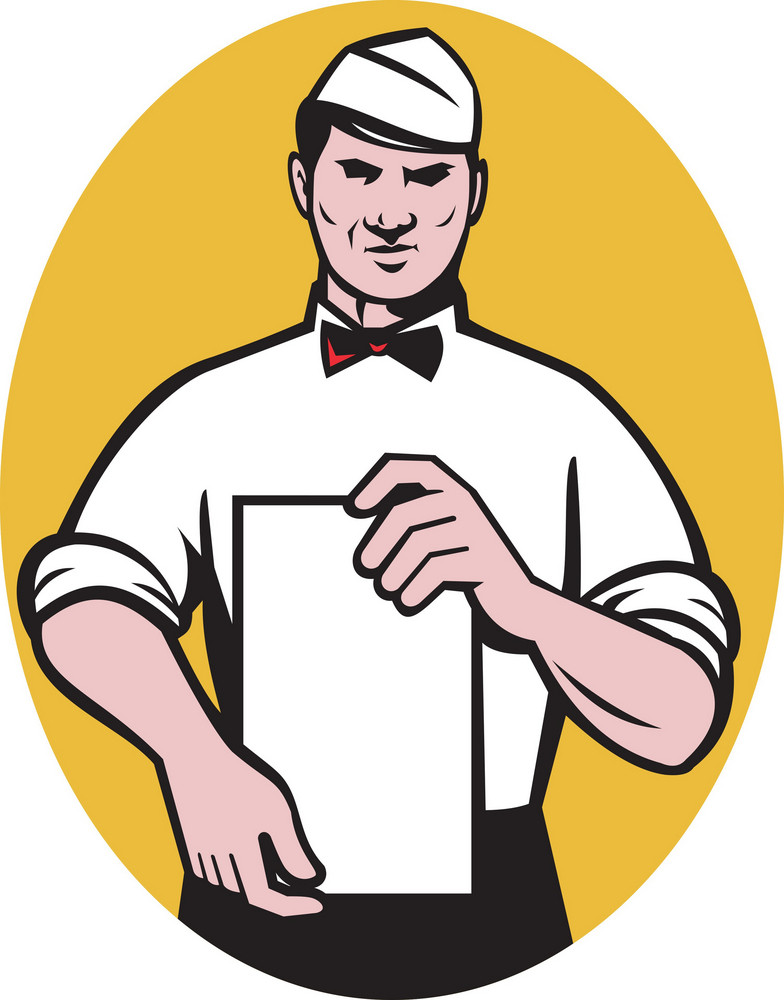 Waiter Holding A Blank Menu Paper