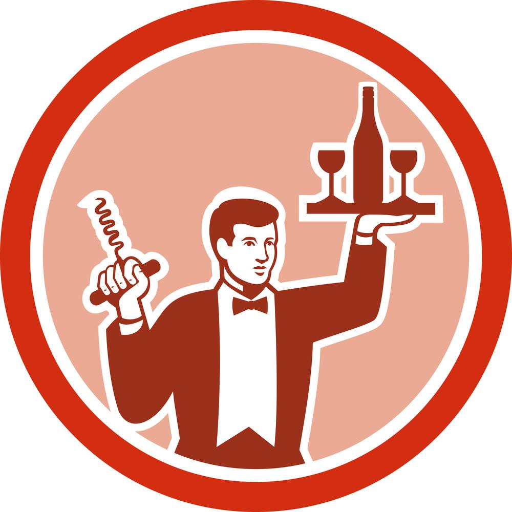 Waiter Serving Wine Holding Corkscrew Retro
