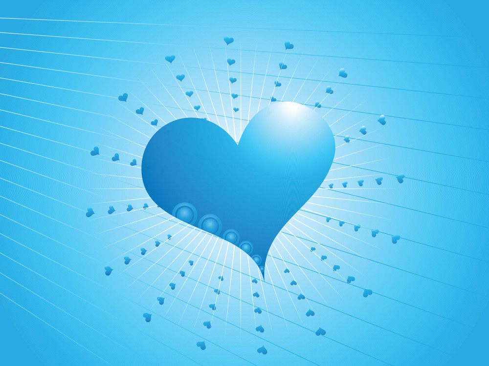Wallpaper Of Valentine Hearts On Blue Shiny Background
