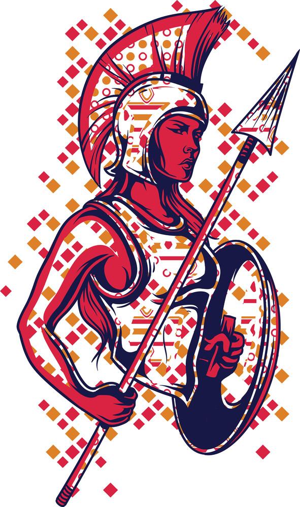 Warrior Girl Vector T-shirt Design