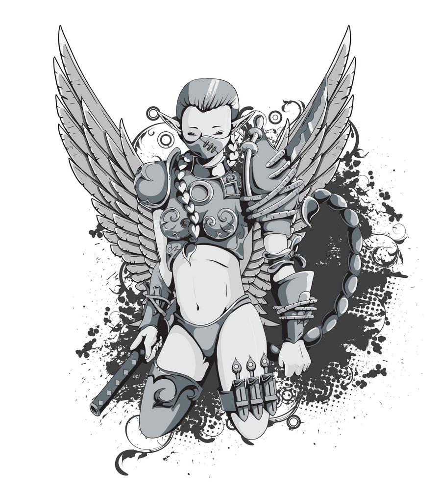 Warrior With Wings Vector Illustration