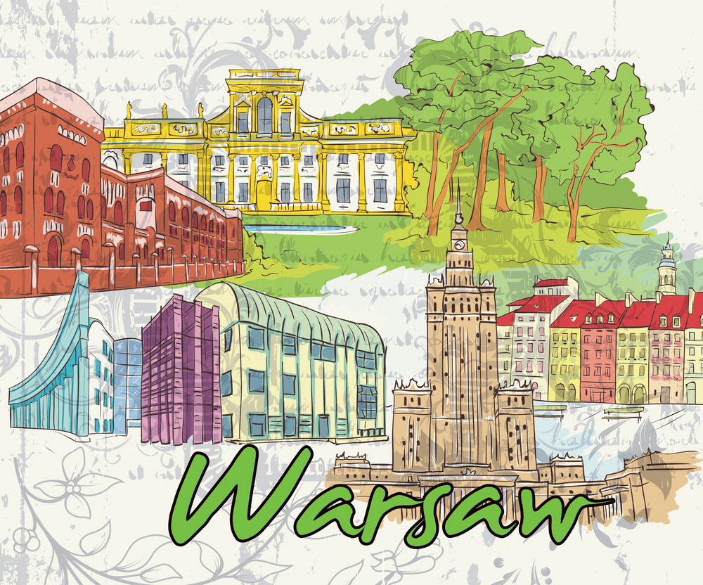 Warsaw Doodles Vector Illustration
